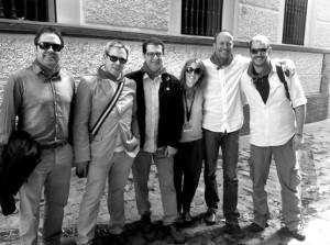 Dei zda. a dcha: José luis Rubio (productor), Manuel Cristóbal (productor), Enrique Urdánoz (productor), Laura Olaizola (comunicación), Olivier Van Der Zee (director) y Javier Cabañas (estereógrafo).