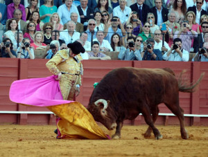 Morante volvió a ofrecer otro recital de toreo de capa. Fotografía: Arjona.