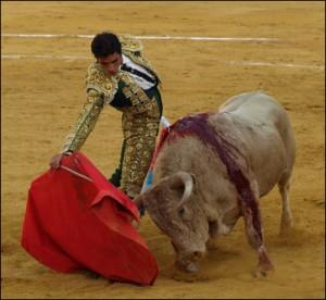 Derechazo de Antón, que alcanzará su vigesimoprimera novillada picada.