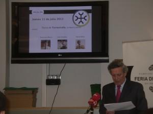 José María Marco, presidente de la comisión taurina de la Casa de Misericordia, durante la presentación de los carteles.