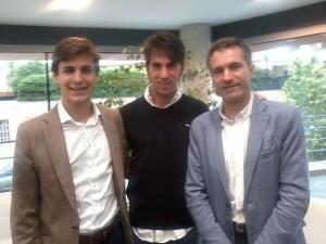 Javier Marín, Roberto Armendáriz y Sergio Sánchez, ayer en la presentación de la feria de Noain.