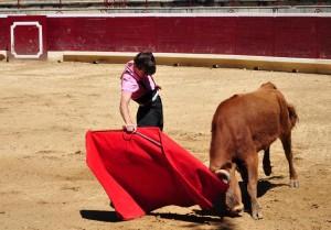 Derechazo de Javier Marín a la primera erala, que resultó estupenda. Fotografía. Miguel Monreal.