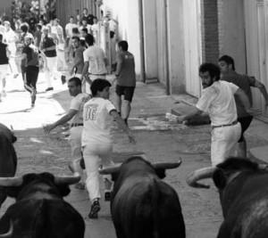 Un momento del encierro con los novillos de Santafé Martón. Fotografía: Diario de Navarra.