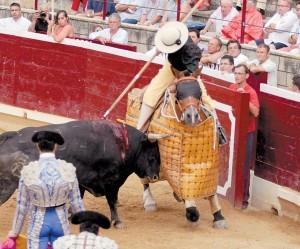 El toro de Dolores Aguirre premiado, 'Cubatisto, peleó con bravura en varas.