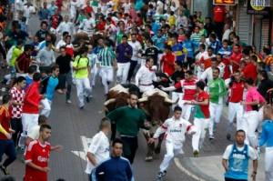 Un momento del encierro de esta mañana, con los toros de El Estoque.