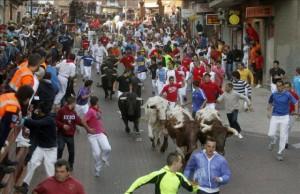 Un momento del encierro de esta mañana en San Sebastián de los Reyes.