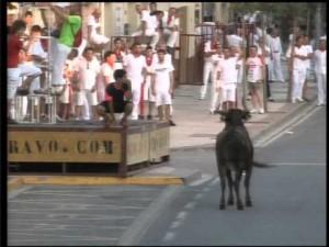 Uno de los encierros de las pasadas fiestas de Valtierra.