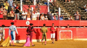 Javier Marín dando la vuelta al ruedo en Alfaro tras haber cortado una oreja.