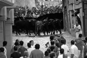 Momento en el que se volvieron las vacas en el encierro de ayer.
