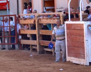 Ángel Jarauta, apoyado en un burladero momentos antes sufrir rl trágico percance.