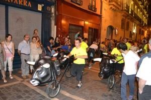Los encierros se llevaron a cabalo en la calle Zapatería, en el Casco Viejo de Pamplona.