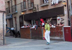 Momento en el que Federico Lizarralde fue corrneado por la vaca. Fotografía: Javier de Paz.