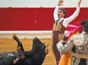 Vicente Soler celebra que el sexto utrero ha doblado.