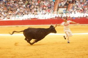 Un momento de la actuación de ayer en Zaragoza del cirbonero Javier Navascués. Fotografía: Toropasión.