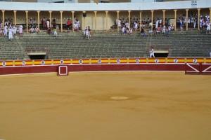 La plaza de toros de Tudela antes del comienzo de un festejo.