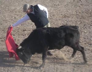 Derechazo largo de Javier Castaño a uno de los novillos tentados.