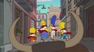 La familia Simpson corriendo el encierro.