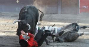 El toro 'Jalos' se fue directo a por el caballero navarro.