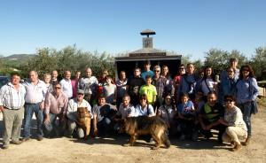 Los aficionados taurinos de Arguedas en la finca La Tejería de Grocin.