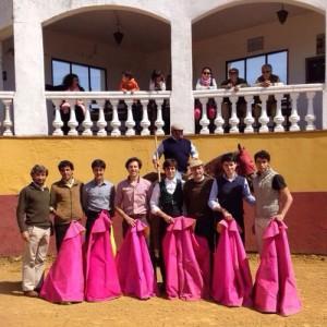 Los toreros participantes en el tentadero de El Cahoso.