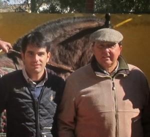 Salvador Vega y Tomás Campuzano durante un tentadero.