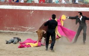 Gallito quedó inerte en la arena.