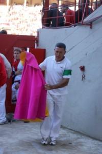 Manolo Rubio como doblador en una mañana sanferminera. Fotografía: Silvia Ollo.