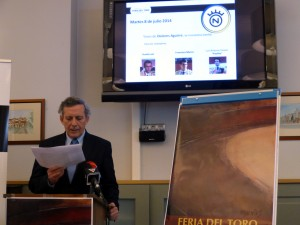 José María Marco, presidente de la comisión taurina, durante la presentación de los carteles del abono sanferminero.