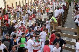En el segundo encierro de Tudela ha sido mayor el número de corredores. Fotografía: Blanca Aldanondo.
