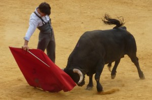 Derechazo mandón de Javier Marín al segundo toro de la mañana.