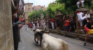 Imagen de un encierro de la localidad navarra de Viana.