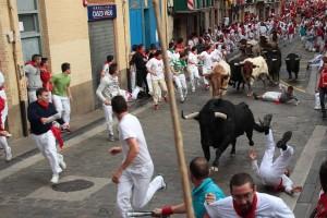 Ese toro, de Garcigrande, ha sido el protagonista del encierro. Fotografía: Jacobo Silvestre.