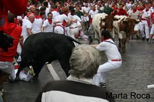 Castander colea al toro par evitar que se siga cebando con el herido.