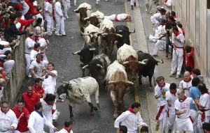 Momento en que el toro 'Frutero' cornea a un correodr en Santo Domingo.