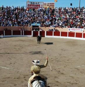 El picador Juan Manuel Sangüesa citando en Ceret el pasado 14 de julio.
