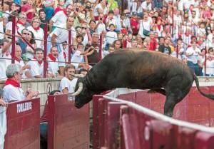 El cuarto toro, chorreado en verdugo, saltó el vallado. Fotografía: Jesús Caso.