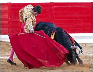 Derechazo de Alejandro Marcos a uno de sus Cebada Gago. Fotografía: Isabel Virumbrales.