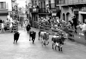 Los utreros de El Capea a su paso por la Plaza de los Fueros. Fotografía: Rafael Villafranca.