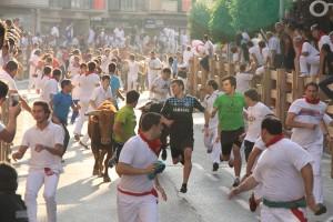 Un momento del tripe encierro, con numeroso corredores. Fotografía: ahorazonamedia.com