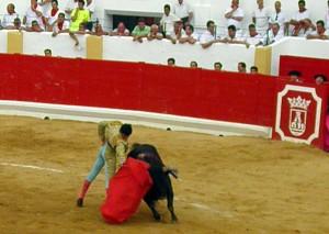 `Gallardía', el utrero premiado, en la muleta de Jorge Expósito.