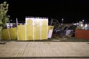 Estado en el que ha quedado la plaza portátil de Olite. Fotografía: Cruz Roja.
