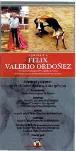 Cartel del homenaje a Félix Valerio Ordóñez.