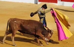 Pase por alto a una mano de Adame a un novillo de Santafé Martón, el sábado en Calanda. Fotografía: César Gracia.