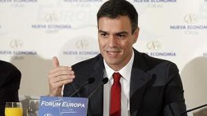 Pedro Sánchez durante su intervención el Fórum Europa.