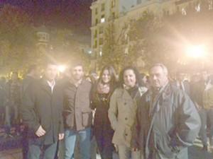 Marco, Martín, su novia, Marta martínez, y Tinico y su esposa. Fotografía: Estafanía.