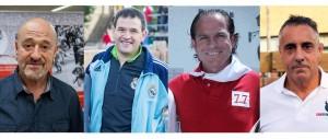 Los veteranos corredores del encierro Madina, Lecuona, Castander, Zuasti. Fotografía: DN.