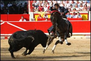 'Chenel' en la corrida de rejones de Pamplona, el 6 de julio de 2009. Fotografía: Cordovilla.