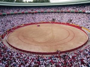 Panorámica de la plaza de toros de Pamplona durante un festejo en San Fermín.