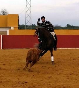 Roberto Armendáriz sobre Corazón entrenando en la finca Cañaveral.