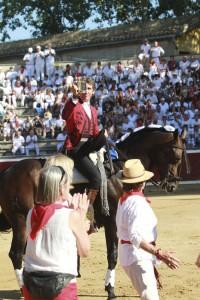 Hermoso de Mendoza recogió hace dos años la 'pinta de plata' en la plaza de Tafalla.
